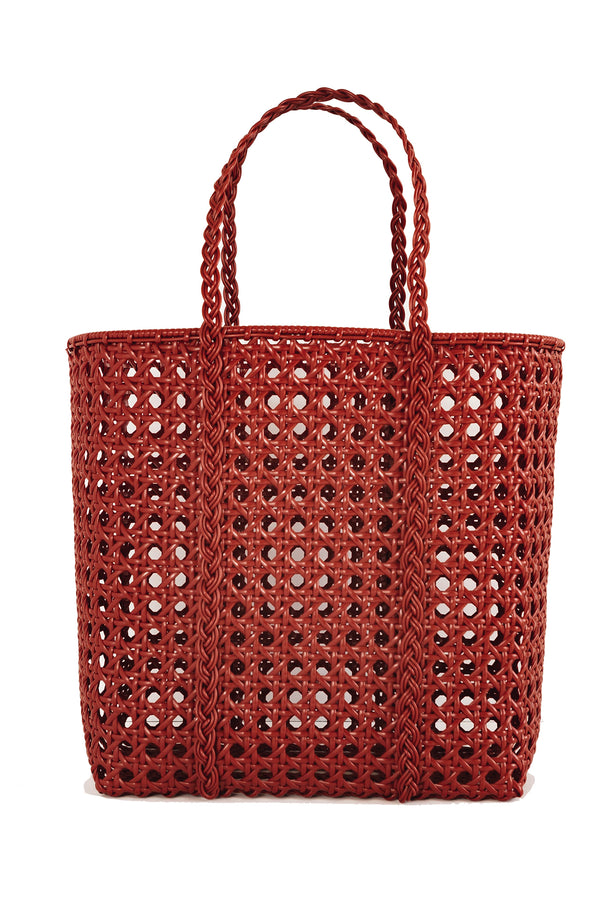 Large handwoven red tote bag made from recycled plastic from Bembien