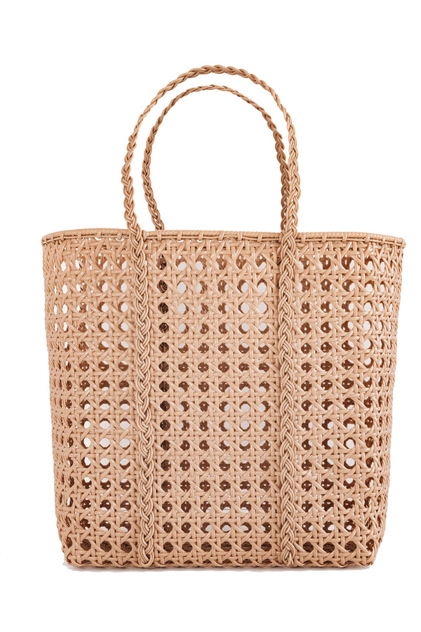 Large handwoven tan tote bag made from recycled plastic from Bembien