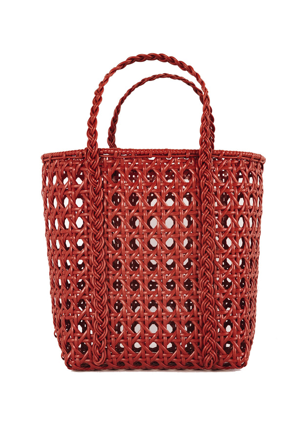 Small handwoven red tote bag made from recycled plastic from Bembien
