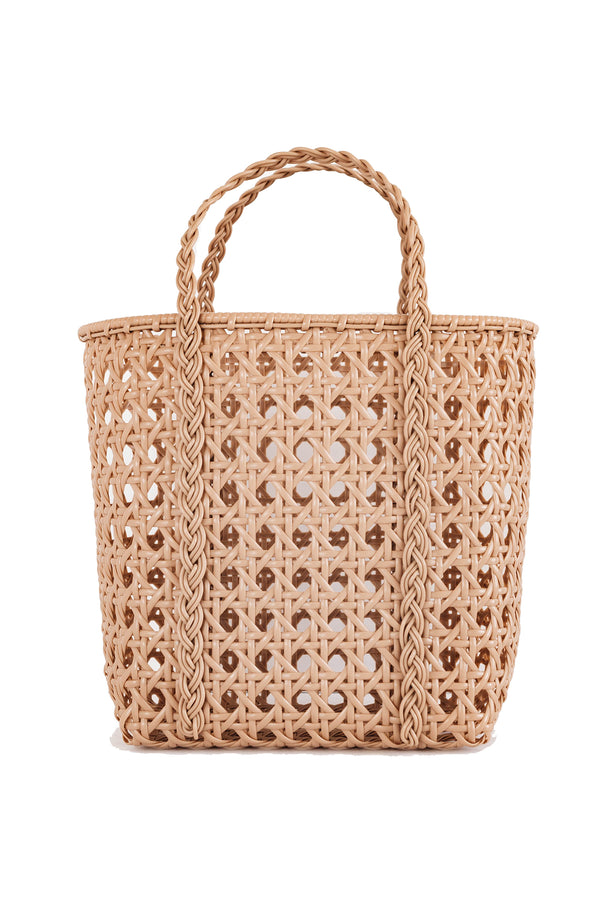 Small handwoven tan tote bag made from recycled plastic from Bembien
