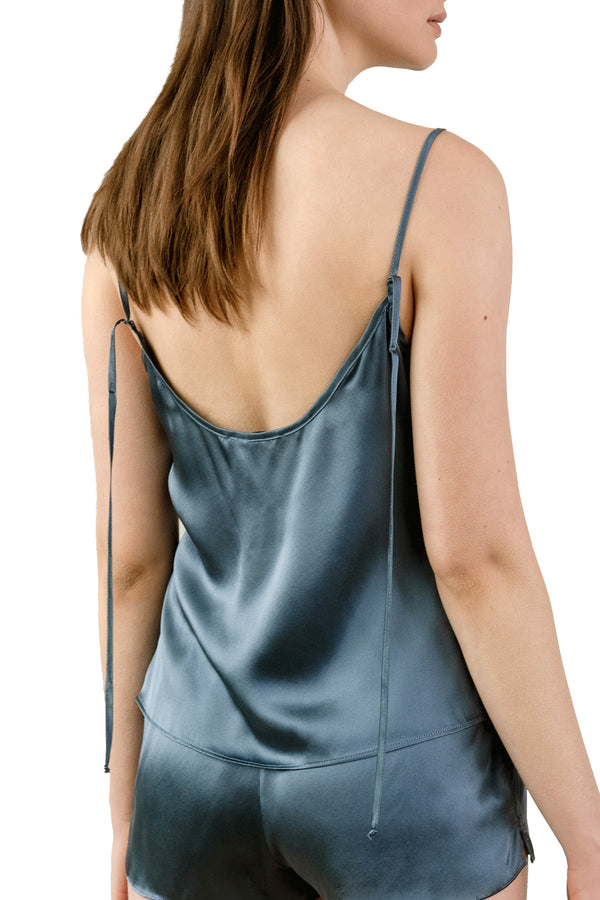 KAM Organic Silk Camisole, on model in electric blue | Kent — paired with OH shorts
