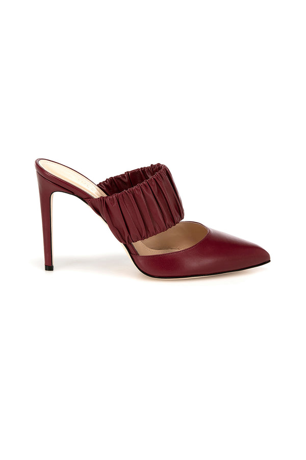 Burgundy leather Kiera heels by Chloe Gosselin