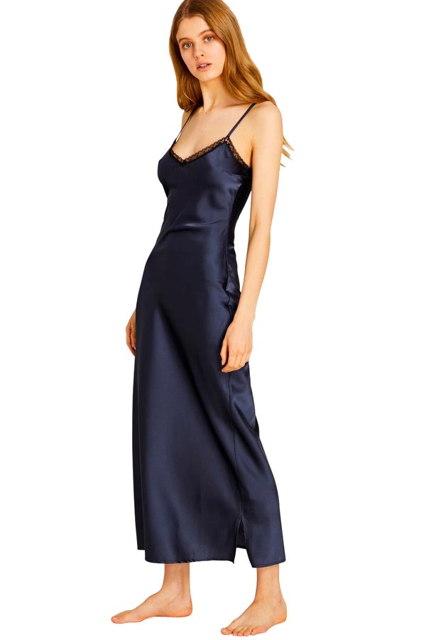 Blue silk fitted maxi dress from Morgan Lane