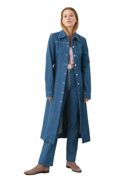 Long Ringspun Denim Coat by LOROD