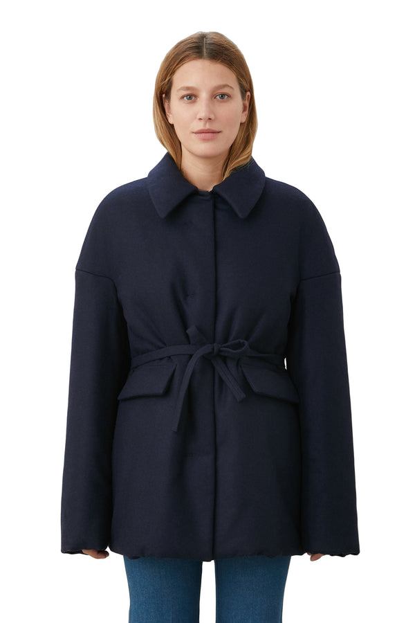 Navy Flannel Puffer Coat by LOROD