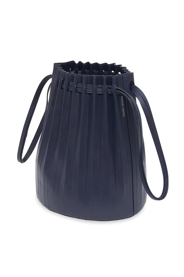 Blue Pleated Lambskin Bucket Bag by Mansur Gavriel