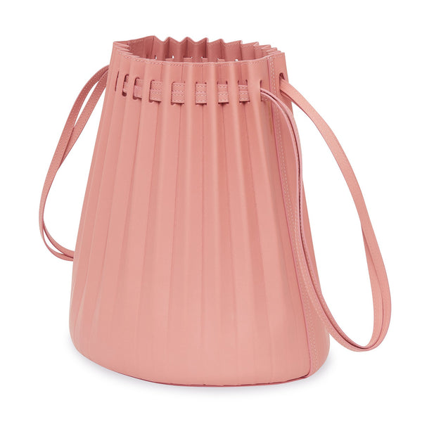 Pink pleated leather bucket bag from Mansur Gavriel