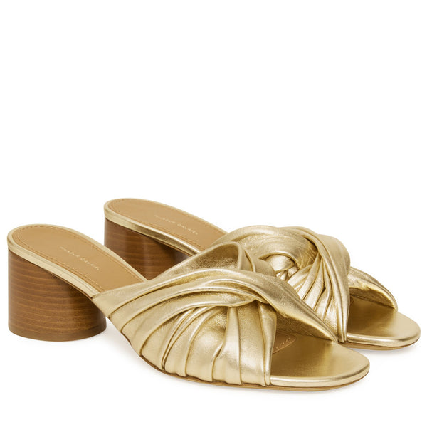 Ruched Mule in Gold
