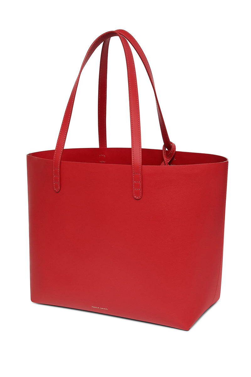 Red Large Calf Leather Tote with Detachable Wallet by Mansur Gavriel