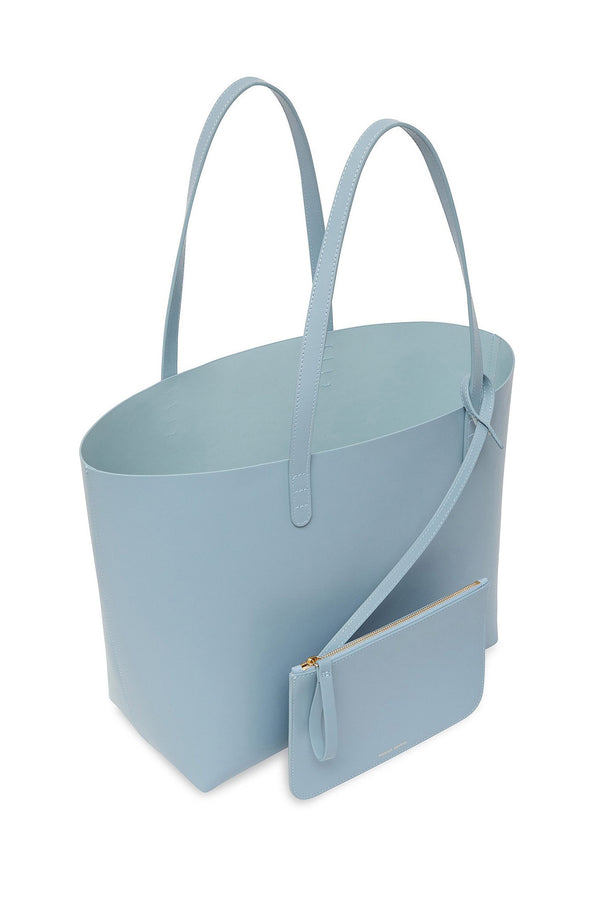 Grey Blue Large Calf Leather Tote with Detachable Wallet by Mansur Gavriel