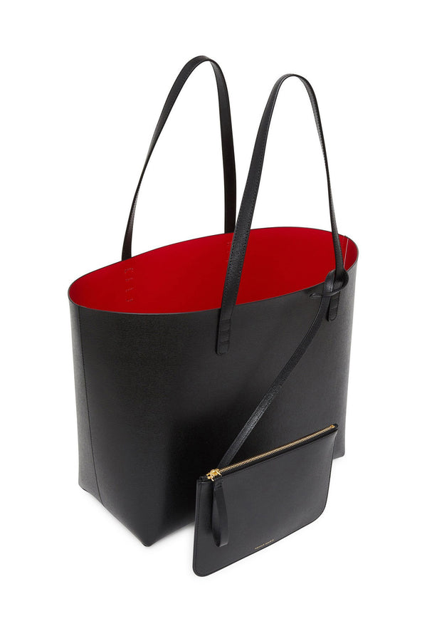 Large Black Leather Tote with Red Interior and Detachable Wallet by Mansur Gavriel