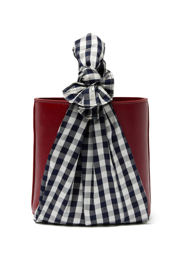 Gingham handle and rust leather Florent Bucket Bag by Lizzie Fortunato