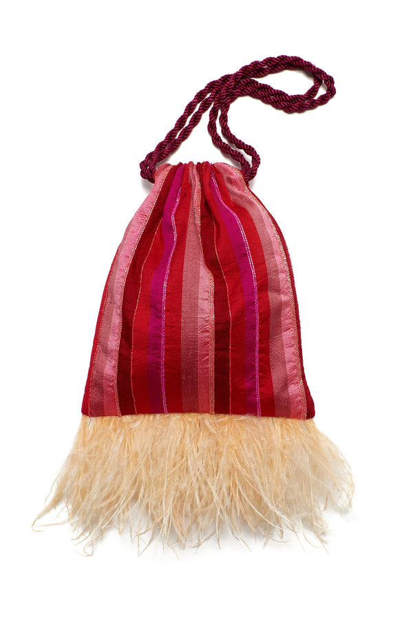 Red and pink striped Gala Wristlet by Lizzie Fortunato