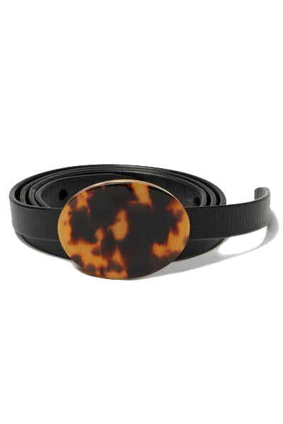 Black leather Orbit Belt with tortoise buckle by Lizzie Fortunato