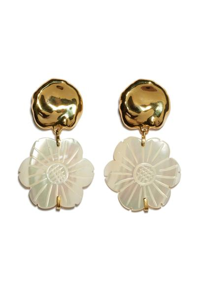 Blanc Daisy gold and mother of pearl Earrings by Lizzie Fortunato