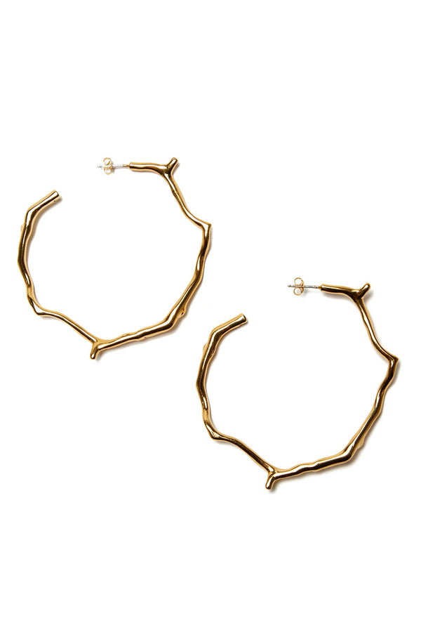 Gold Carved Coral Hoop Earrings by Lizzie Fortunato