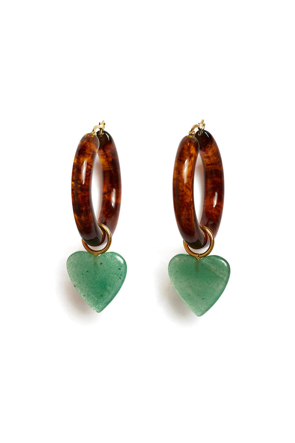 Tortoise and jade La Playa Hoops by Lizzie Fortunato