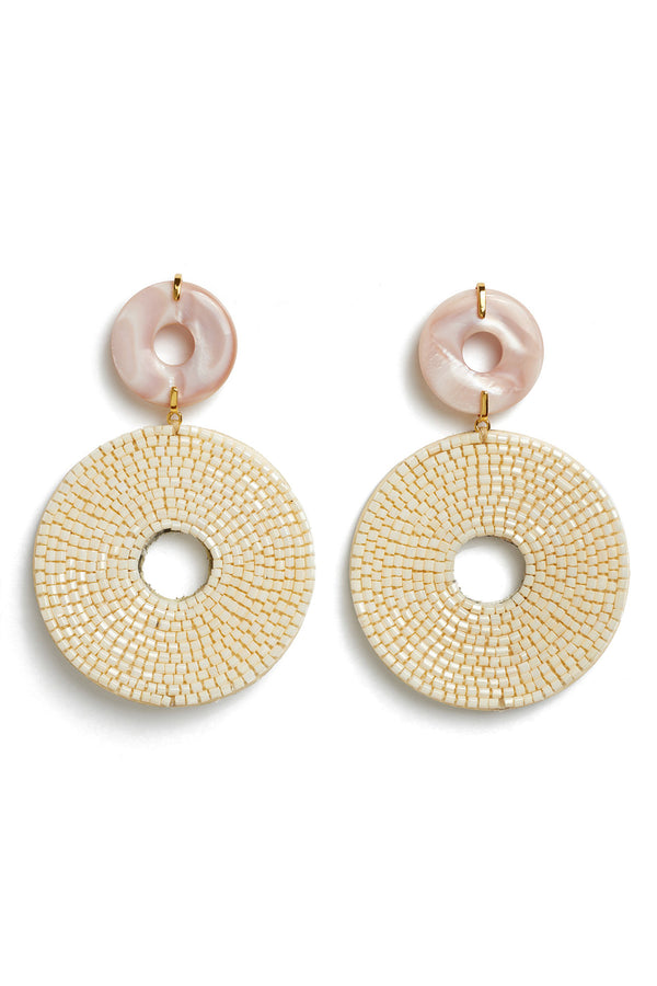 Beaded and mother of pearl Soleil Earrings by Lizzie Fortunato