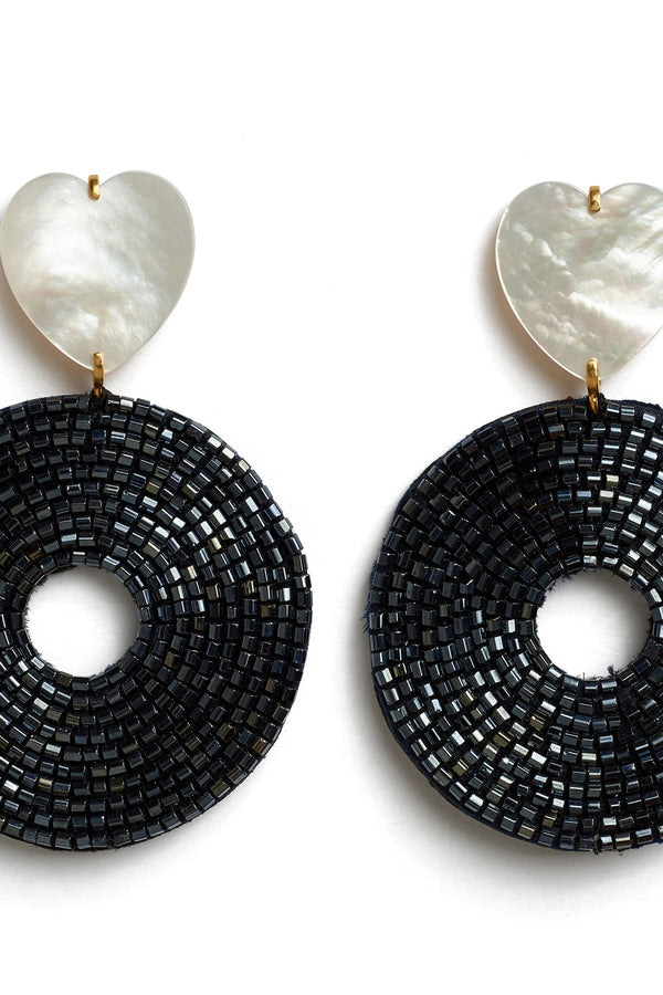 Black bead and mother of pearl Starlet Earrings by Lizzie Fortunato