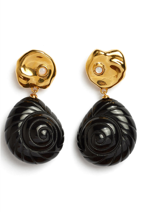 Gold and black shell Venus Earrings by Lizzie Fortunato