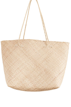 Large handwoven tan tote bag made from rattan from Bembien