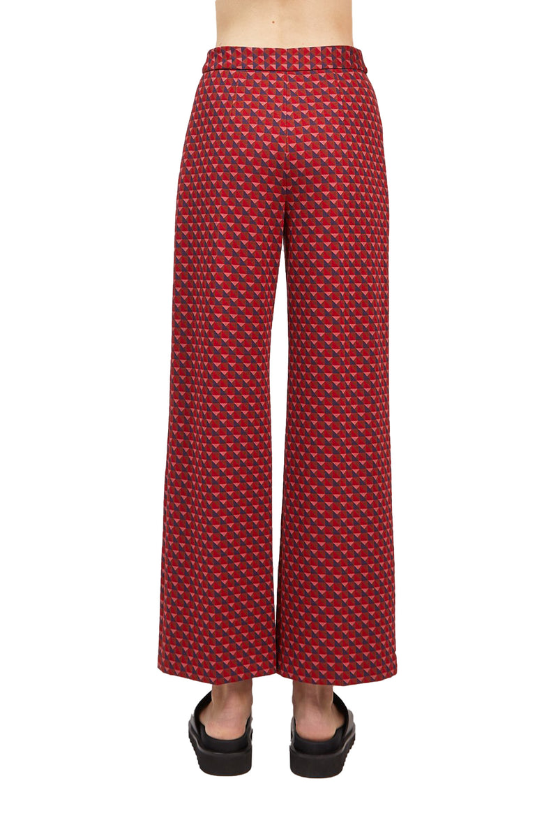 Pull On Cropped Straight Trousers