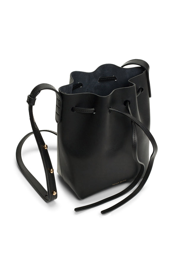 Tiny Black Leather Top-Cinched Bag by Mansur Gavriel