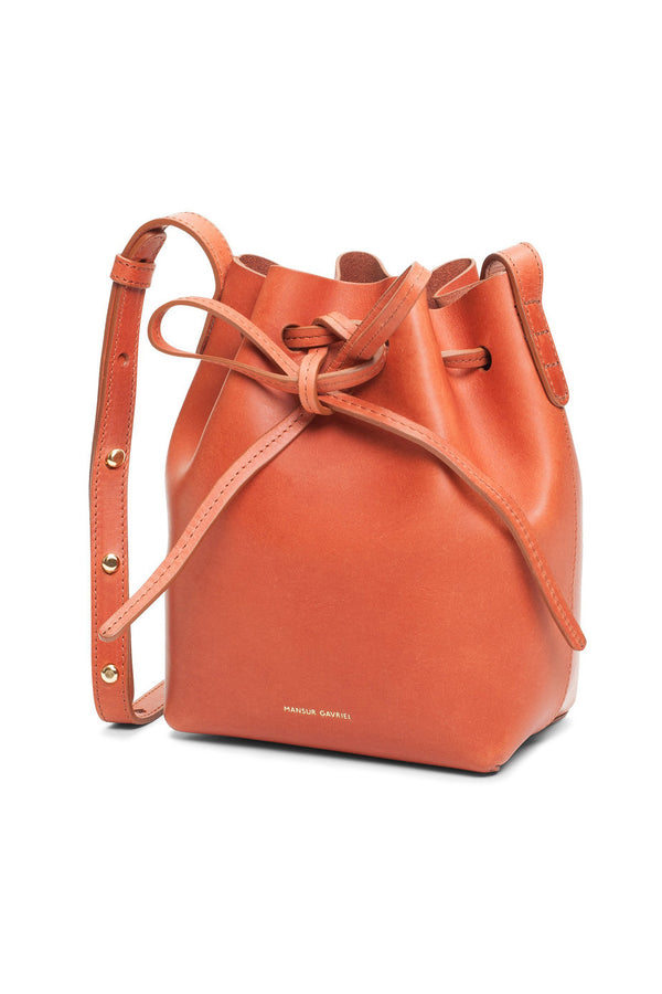 Raw Leather Mini Mini Top-Cinched Bag by Mansur Gavriel