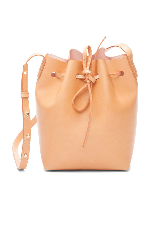 Tanned Leather Mini Bucket Bag (Rosa Interior) by Mansur Gavriel