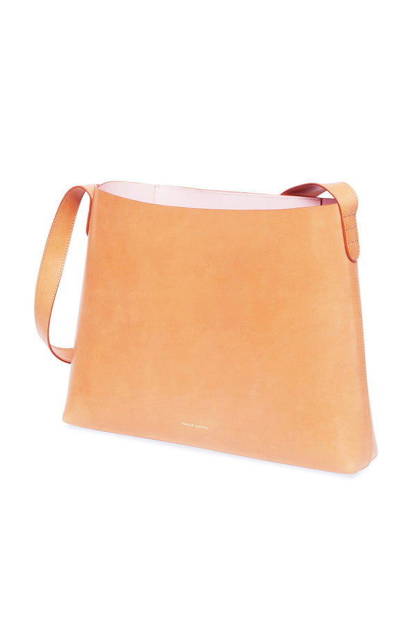 Natural Leather Structured Hobo Bag with Pink Interior by Mansur Gavriel