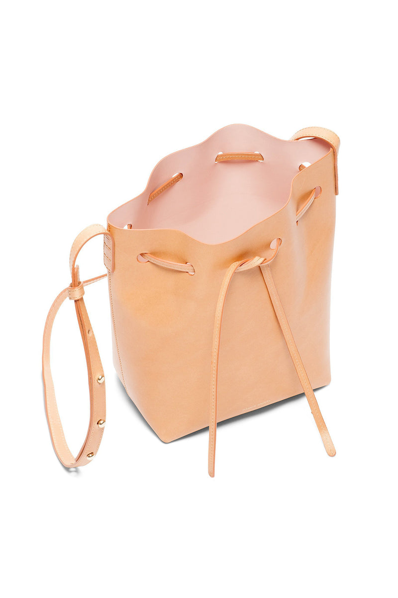 Tanned Leather Mini Bucket Bag (Rose Interior) by Mansur Gavriel