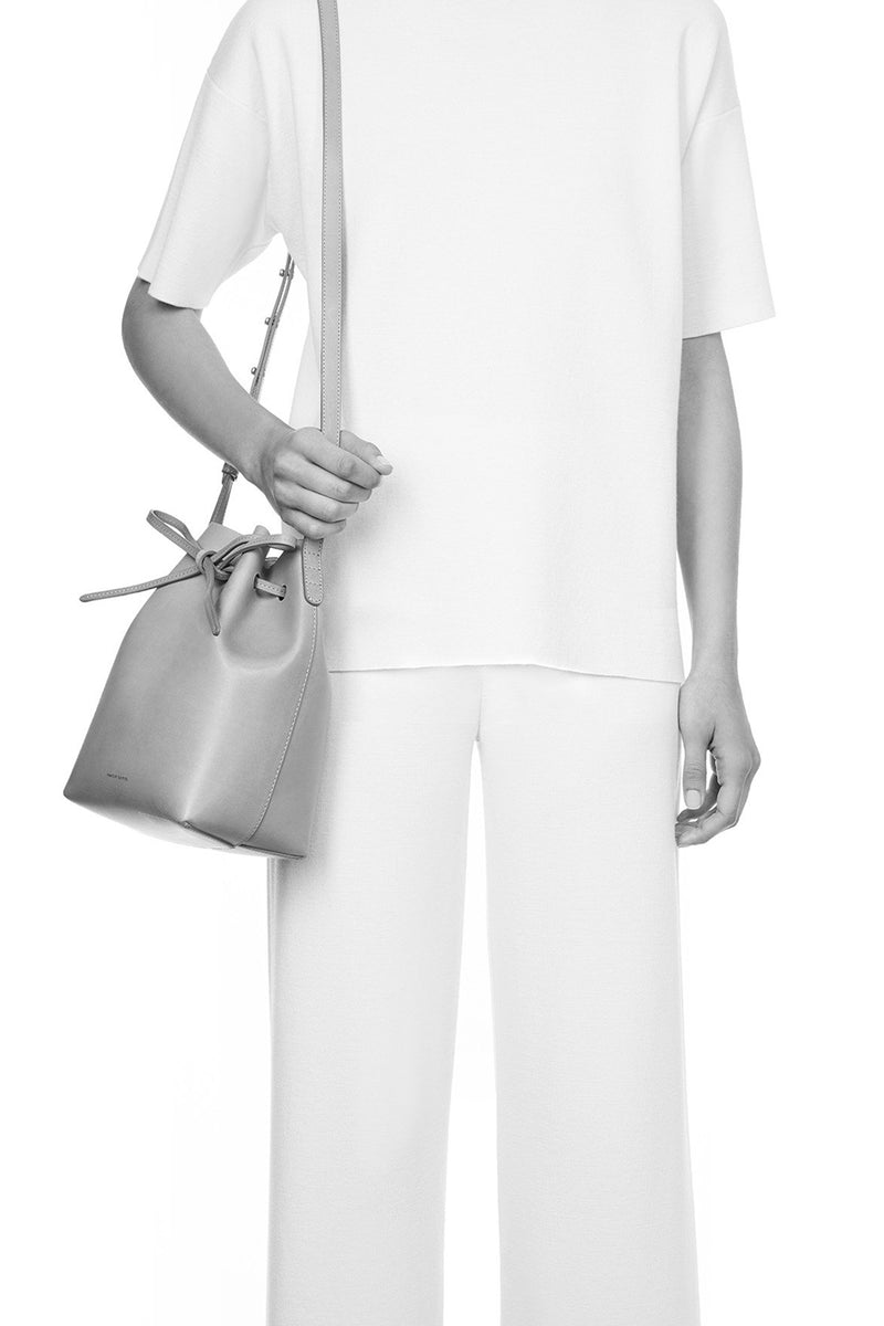 Raw Leather Mini Bucket Bag with Drawstring Tie Top by Mansur Gavriel