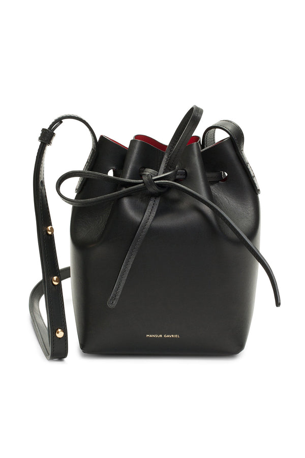 Tiny Black Leather Top-Cinched Bag with Red Interior by Mansur Gavriel