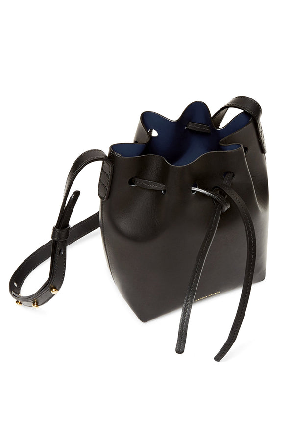 Tiny Black Leather Top-Cinched Bag with Blue Interior by Mansur Gavriel