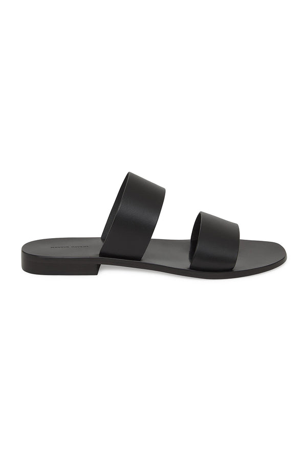 Black Veneto Two Strap Slide Sandals by Mansur Gavriel