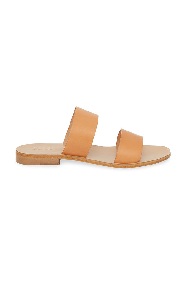 Camel Veneto Two Strap Slide Sandals by Mansur Gavriel