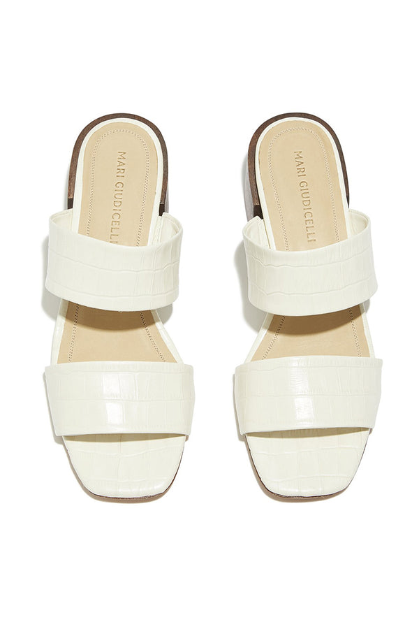 Heeled two strap white croco embossed leather Asami sandals by Mari Giudicelli
