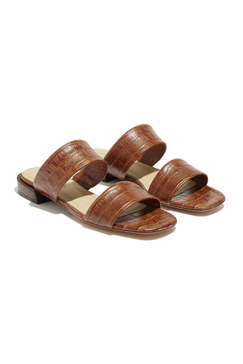 Double strap Asami flat sandals in tan croco embossed leather by Mari Giudicelli