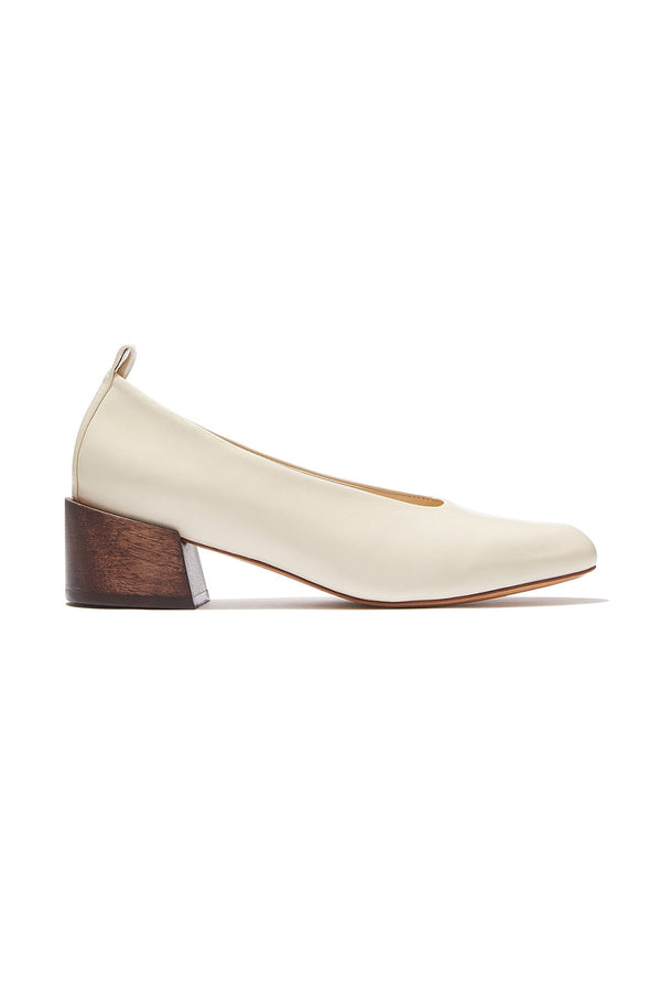 White leather and wooden Pina Ballerina heels by Mari Giudicelli