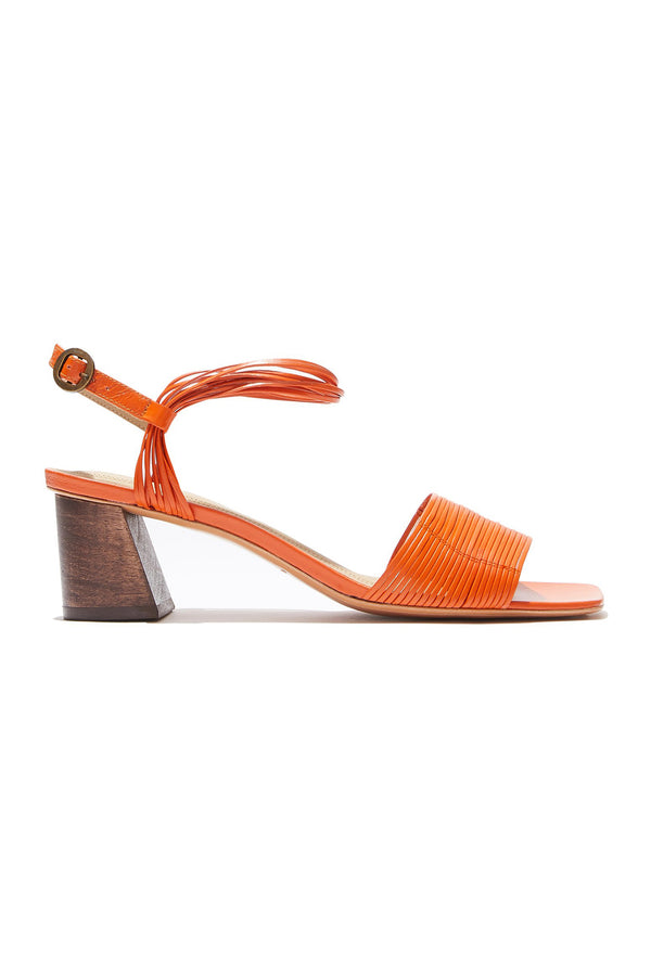 Heeled orange leather Vitta sandal by Mari Guidicelli