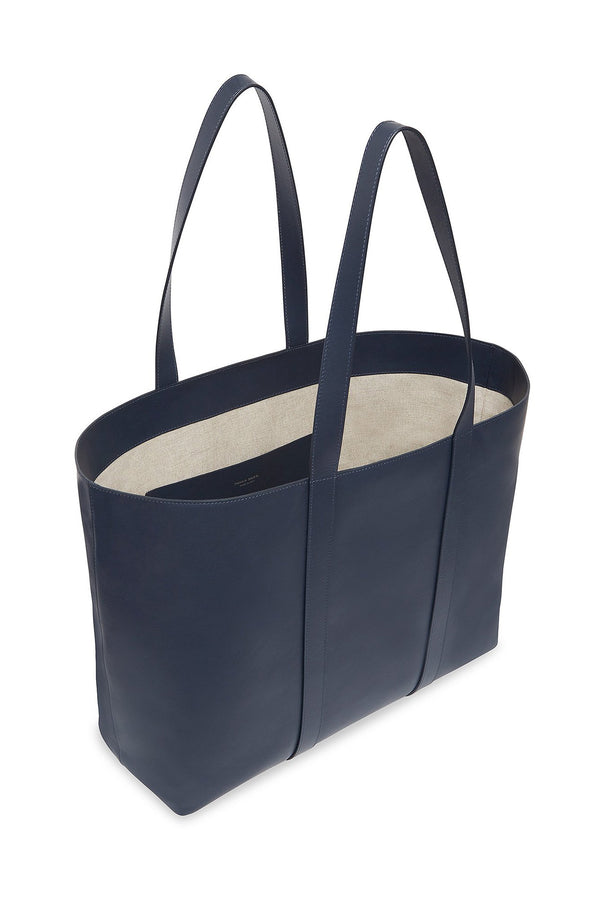 Blue Calf Leather Wraparound Strap Tote with Canvas Interior by Mansur Gavriel