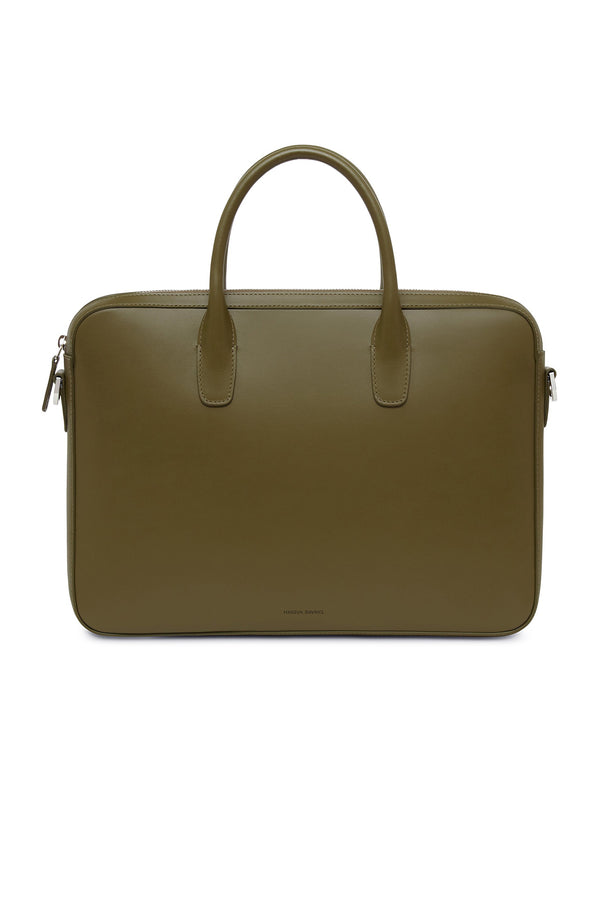 Olive Leather Briefcase by Mansur Gavriel