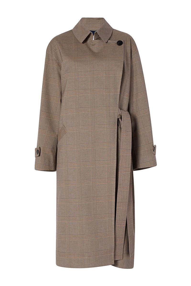 Toffee Plaid Erin Trench Coat by Michelle Waugh