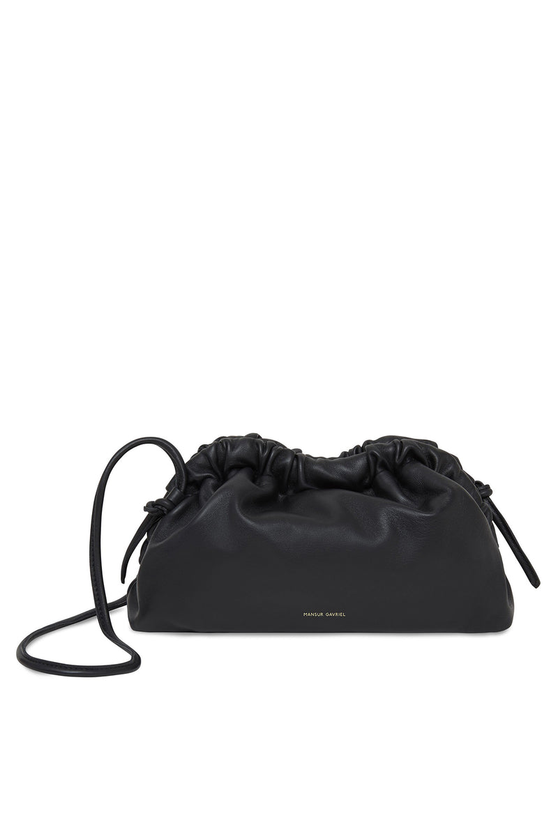 Mini Cloud Clutch in Black with Flamma | Mansur Gavriel