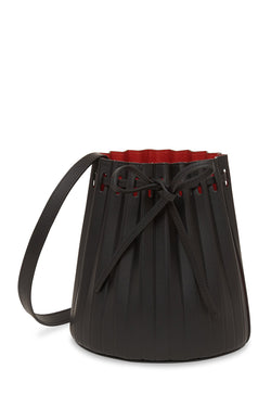 Mini Pleated Bucket Bag in Black with Flamma | Mansur Gavriel