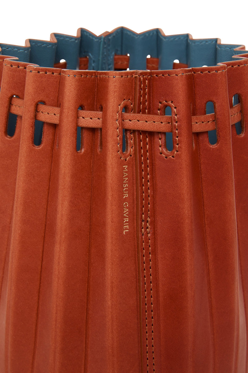 Mini Pleated Bucket Bag in Brandy with Avion | Mansur Gavriel