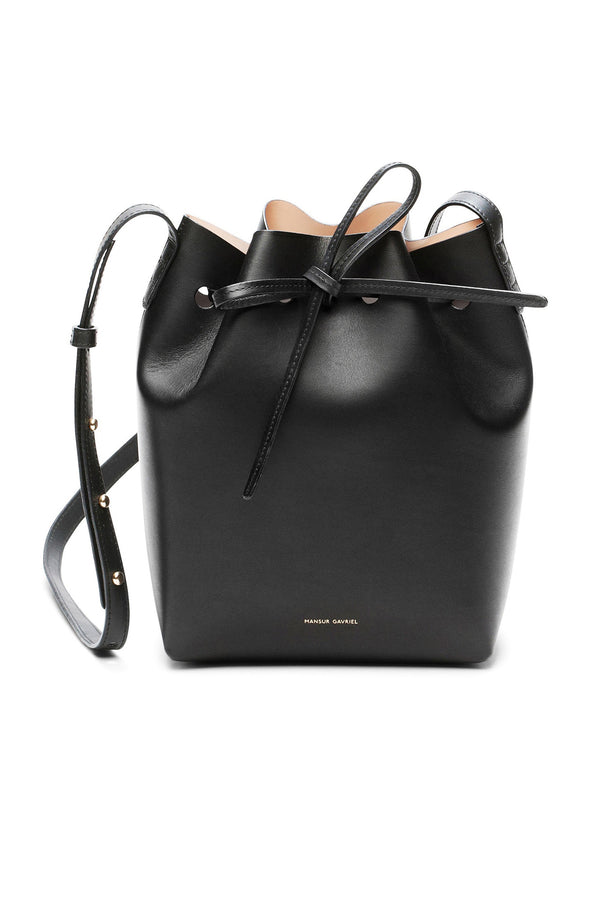 Black Leather Top-Cinched Bag with Nude Interior by Mansur Gavriel