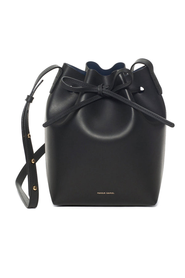 Black Leather Top-Cinched Bag with Blue Interior by Mansur Gavriel