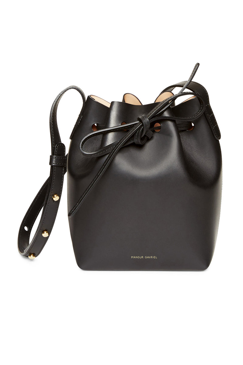 Tiny Black Leather Top-Cinched Bag with Nude Interior by Mansur Gavriel