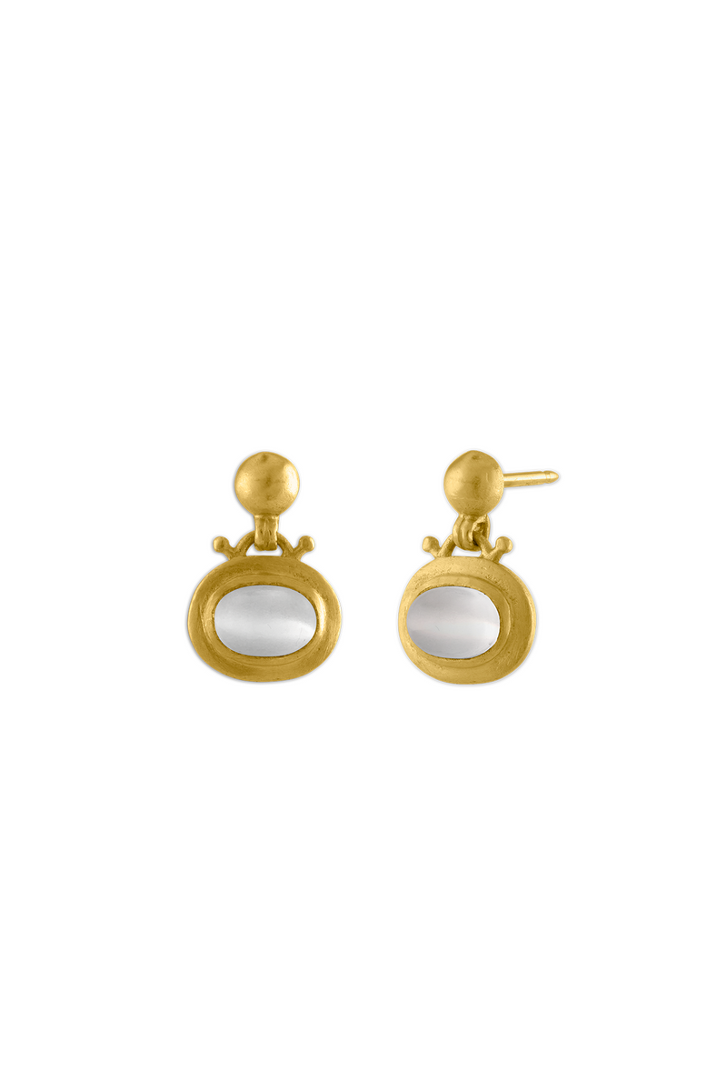 Small Moonstone Bell gold Earrings by Prounis Jewelry